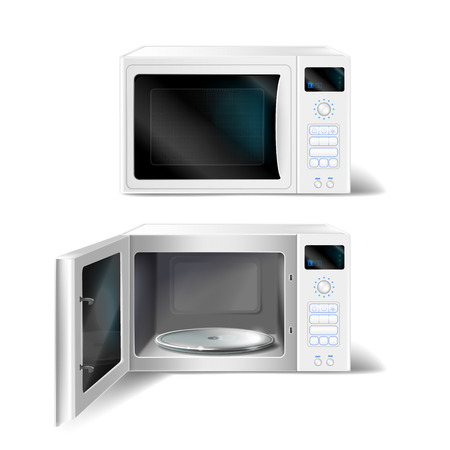3d realistic white microwave oven with empty glass plate inside, with open and close door, front view isolated on background. Modern household appliance to heat, defrost and cooking food