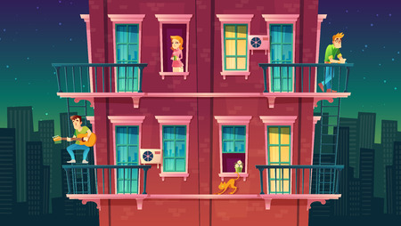 residential multi-storey apartment, neighborhood, house outside with people concept, private building with fire escapes. Leisure time in dormitory. Architecture in cartoon style.