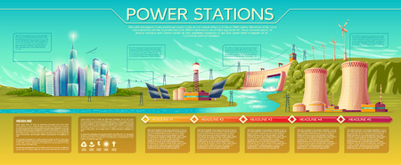 power stations, modern city. business presentation, banner, brochure template. Infographics, text space. Renewable alternative, nuclear energy. Illustration with solar panel, windmill water dum