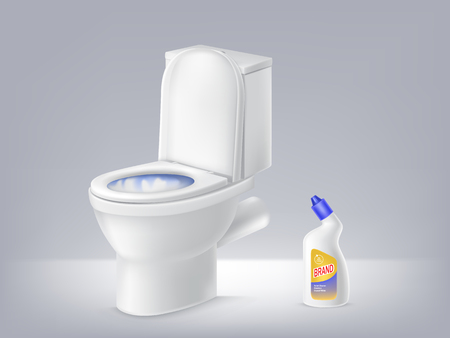 of 3d toilet bowl, liquid disinfectant ad on grey background. Poster mock up of detergent. Cleaning concept. Antiseptic brand, chemistry banner for promotion