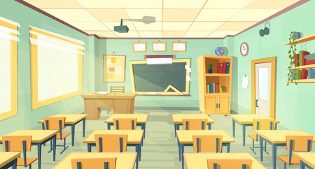 cartoon background with empty classroom, interior inside. Back to school concept illustration. College or university training room with furniture, chalkboard, table, projector, desks, chairs