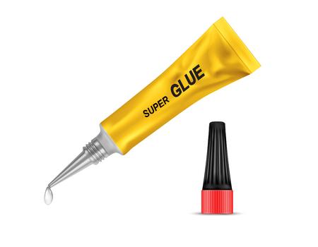 Realistische gelbe Metalltube mit Sekundenkleber, mit offenem schwarzem Deckel und mit Flüssigkeitstropfen an einer Spitze, einzeln auf Hintergrund. Behälter mit Klebstoff für jeden Zweck. Mockup für Verpackungsdesign