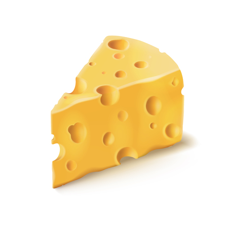 Cheese piece with holes 3D isolated illustration on white background. Emmental or Cheddar hard cheese slice, triangular piece with holes isolated icon with shadow for dairy food design