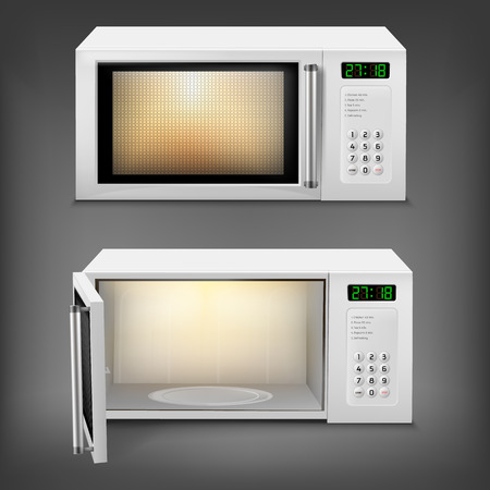 3d realistic microwave oven with light inside, with open and close door, front view isolated on background. Household appliance to heat and defrost food, for cooking, with timer and buttons