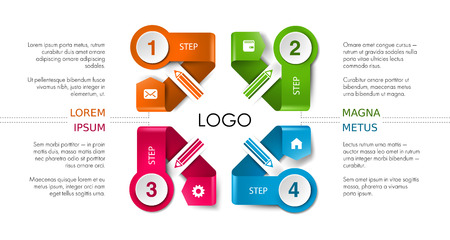 business presentation layout, infographic workflow timeline background. Template with process data, pensil, phone media, communication icons, steps, options concept. Isolated illustration. Stock Photo