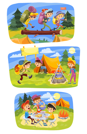 Kids summer camping concept illustration. Group of children go hiking at nature with backpacks, cook food on bonfire, have a picnic and rest outdoor. Set of three horizontal colorful banners