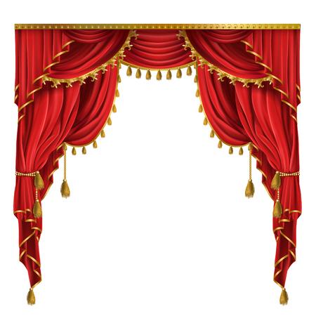 rideaux rouges de luxe réalistes de style victorien, avec draperie, attachés avec un cordon doré avec des glands isolés sur fond. Tissu de soie décoratif avec plis pour affiches de cinéma, théâtre, concerts Banque d'images