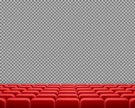 realistic rows of red cinema or theater seats, empty velvet chairs for show or concert visitors, isolated on transparent background. Design template for movie premiere posters, announcements