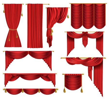 3d realistic set of red luxury curtains, open and closed, with drapery and decorative cords and tassels isolated on background. Textile drape, decor elements for theater and cinema posters