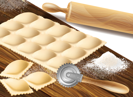 realistic concept illustration with process of making ravioli, italian traditional cuisine. Background with rolling pin, raw dumplings with stuffing, cutter and flour on cutting board