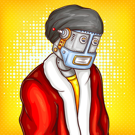 pop art illustration of tired robot in christmas chothing portrait on vintage comic background. Sad steampunk metal cyborg, artificial intelligence, humanoid in Xmas holiday, santa costume