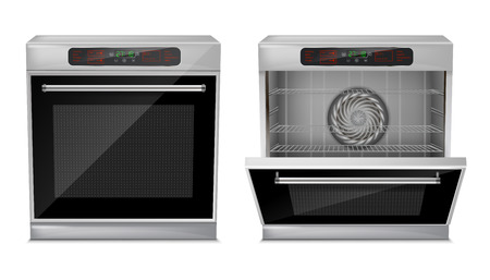 3d realistic compact oven with touch menu, with pre-set cooking programs, with open and close door, front view isolated on background. Built-in household appliance, modern multifunction stove