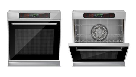 Four compact réaliste 3D avec menu tactile, avec programmes de cuisson préréglés, avec porte ouverte et fermée, vue de face isolée sur fond. Appareil électroménager encastrable, cuisinière multifonction moderne