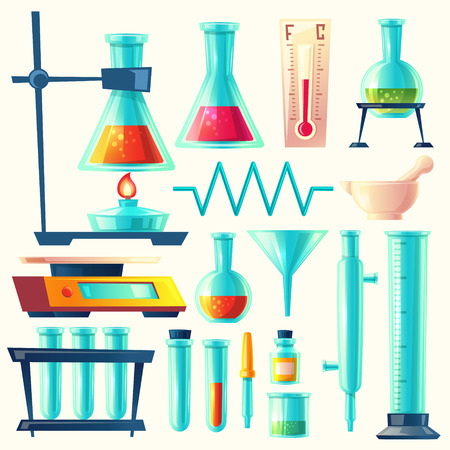 cartoon laboratory equipment, glassware set. Chemical, biological pharmaceutical science lab research, analysis, experiment tools. Isolated illustration with flasks, test tube, beaker, burner. Stock Photo