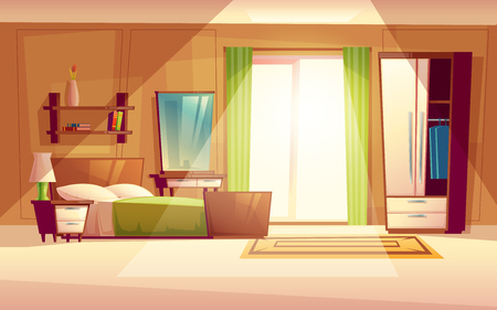 cartoon illustration of a cozy modern bedroom, living room with double bed, bookshelf, cupboard, window, dresser, carpet, interior inside. Colorful background, apartment concept with furniture
