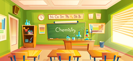 chemistry room, school laboratory, classroom interior. Educational concept, chemical experiments, cabinet furniture, blackboard, desks, school supplies. Illustration for advertising web Banco de Imagens