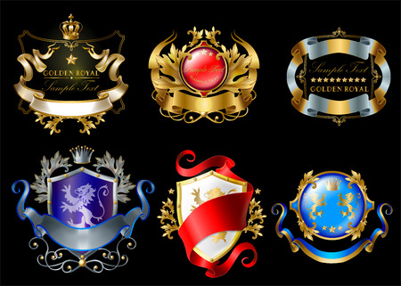 set of colorful royal stickers with crowns, shields, ribbons, lions, stars isolated on black background. Luxurious emblems with heraldic ornament, premium quality labels for brand promotion