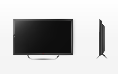 lcd screen, mock up of plasma television, modern video system. HD tv digital technology. Black display in 3d realistic style isolated on white background
