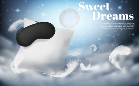3d realistic illustration with white pillow, sleep mask, feathers, isolated on blue night background with moon. Mockup with soft cushion for comfortable sleep and sweet dreaming