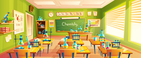 cartoon background with chemistry classroom, interior inside. Education concept illustration, training room with blackboard, desks, periodic table, vials and flasks for chemical experiments