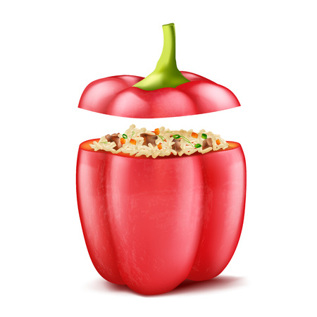 realistic illustration of stuffed bell pepper filled with rice and forcemeat, isolated on background. Sweet red pod of paprika with mince, natural delicious high-calorie dish for eating Stok Fotoğraf - 110696489