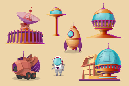 mars colonization cartoon set. Spaceship, shuttle, rocket, mars rover - bulldozer, different bases, colony buildings. Futuristic technology, sci-fi construction, exploration of space Stock Photo