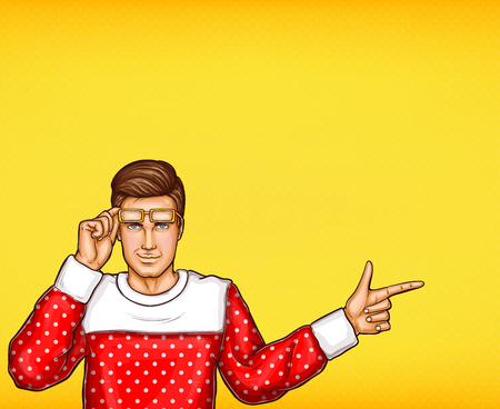 Pop art man indicating or pointing with finger sketch illustration. Young man in sweater and raised glasses points or indicates with hand finger to direction or information on yellow background