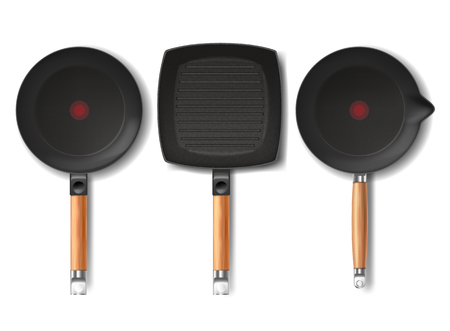 set with realistic black frying pans of various shapes, with red thermo-spot indicator and non-stick coating isolated on background. Modern cookware, kitchen equipment for frying, cooking food Stock Photo
