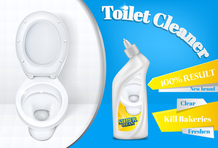 Toilet cleaner advertising poster template illustration of white plastic detergent bottle and toilet on white and blue background. 100 percent super clean result for bathroom cleaner product Banque d'images - 110697207