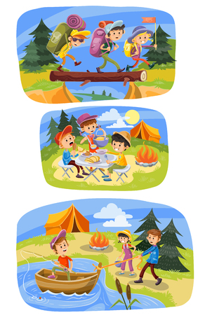Kids summer camping cartoon illustration. Children with backpacks on outdoor hiking adventure at tent and campfire for picnic, fishing at lake or walking through forest. Colorful banners design