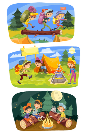 Kids summer camping concept illustration. Group of teens go hiking at nature with backpacks, rest outdoor, cook food, roast marshmallow on campfire in evening. Set of three horizontal banners