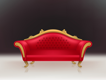 realistic luxurious red velvet sofa with golden carved legs on black background, white floor. Gilded antique royal couch in victorian style. Interior concept, vintage settee