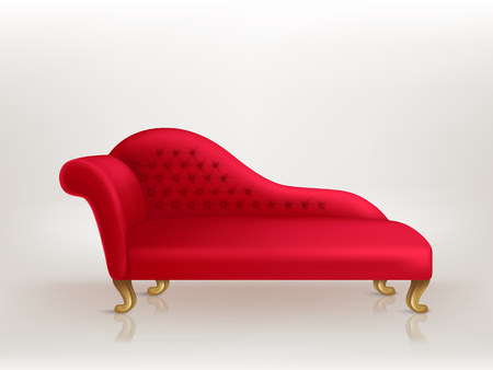 Vector realistic luxurious red sofa with golden carved legs isolated on background. Gilded antique royal couch in victorian style. Object of interior, expensive and exclusive furniture for vip person
