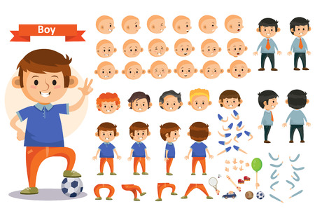 Boy kid playing football and toys cartoon child character constructor isolated icons body parts, hair or legs, arms and face emotions. Construction set for create young boy child playing sports