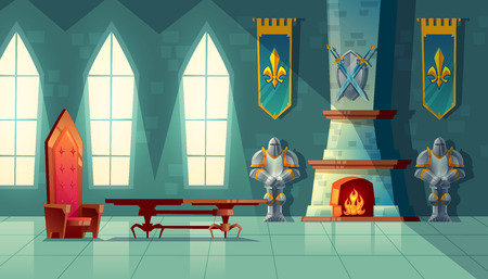castle hall, interior of royal ballroom with throne, table, fireplace and knight armor. Luxury furniture in medieval palace. Fantasy, fairy tale or game background