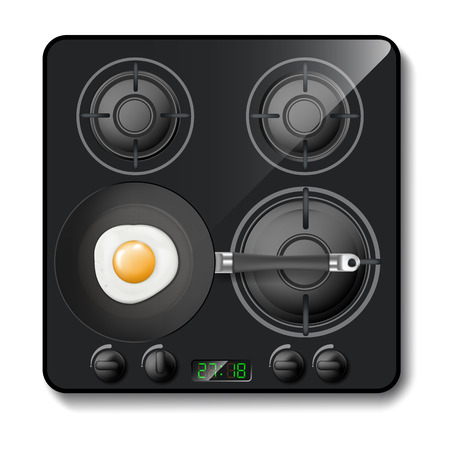 3d realistic gas stove, black cooktop, hob with four circle burners, with frying pan and eggs on it, isolated on background. Modern household appliance with digital timer for cooking food