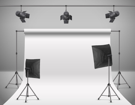 realistic illustration of empty photo studio with blank white screen, lamps, flash spotlights, reflectors on tripods. Concept background with modern equipment for professional photography
