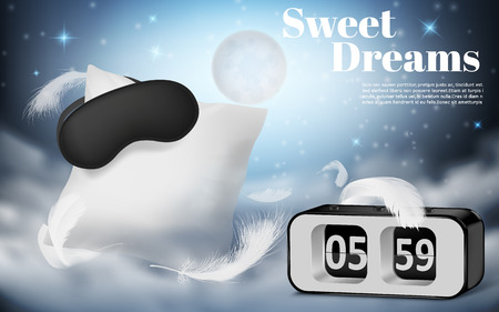 promotion banner with realistic white pillow, blindfold and alarm clock on blue night background with clouds. Cushion and black mask, bedroom accessories for comfortable rest and sweet dreams