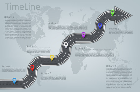 company corporate car road curved arrow shape world map milestone, timeline business presentation layout infographic plan workflow pointer marks, action step. Concept template illustration Stock Photo