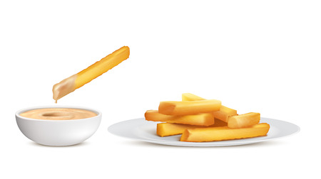 realistic golden french fries, heap of fried potato sticks in white plate and bowl with sauce, isolated on background. Fastfood, crispy chips, unhealthy fatty eating to have fast snack Banco de Imagens