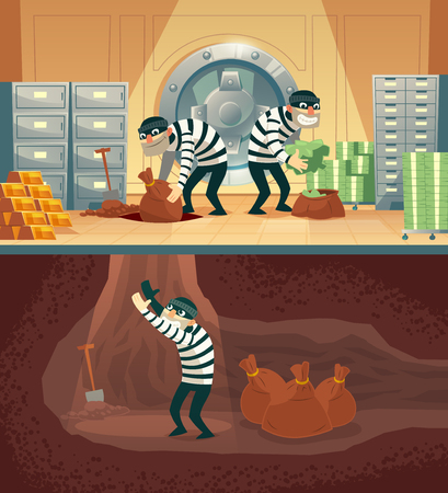 cartoon illustration of bank robbery in safety vault. Three thieves stealing gold, cash and throwing bag, sack with currency into undermining. Storage security concept against criminals