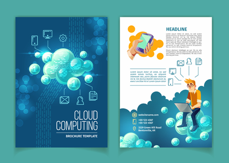 Cloud computing, global data storage, modern internet technologies concept illustration. Template for brochure with user sitting on abstract bubbles, with space for main info and linear icons Stock Photo