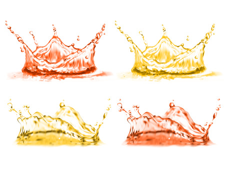 3d realistic set of splashes. Red, yellow juice of ripe fresh fruit isolated on white background. Drops splashing vitamin liquid. Elements for mock up, template or ad banners, poster. Stock Photo