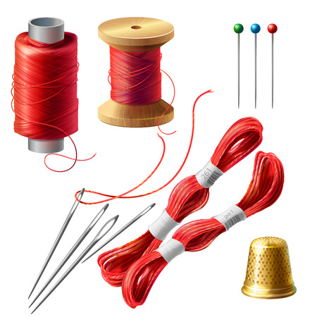 3d realistic tailor set. Wooden reel with threads, needles and pins for dressmaking, needlework. Sewing atelier collection. Metal thimble and coil of strands for handmade, hobby