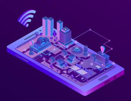 3d isometric smart city on smartphone screen, town map with navigation markers in ultra violet colors. Wireless internet technologies, mobile gps application and tracking concept illustration 写真素材