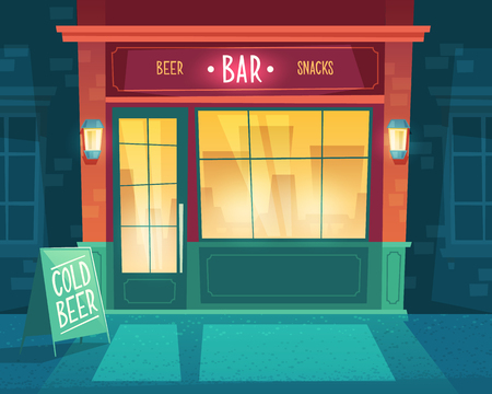 cartoon background with bar at night. Facade of building for public catering, exterior of beerhouse with shop-windows and signboard. Entrance of fast food restaurant with beer and snacks