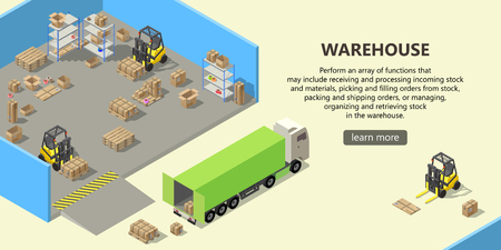 isometric warehouse with interior inside, delivery service. Storehouse with boxes for shipping, pallets, forklifts with cargo. Web page with button and space for text, logistics concept banner Foto de archivo - 111083396