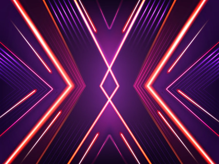 Vector abstract neon background. Bright shining pattern of xenon red, purple and pink lamps. Futuristic concept, illuminated illustration. Glowing lines - beams with flashes.