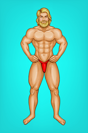 pop art naked male character with great muscles in red underpants, g-string. Blonde bearded sportsman or striptease performer with nude body. Attractive athlete isolated on blue background