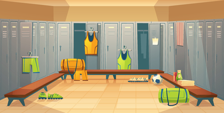 changing room with lockers for football, basketball team for game background. Dressing of sports uniform, training equipment or athletic costume. Cartoon shelves in school gym Stockfoto - 111632956
